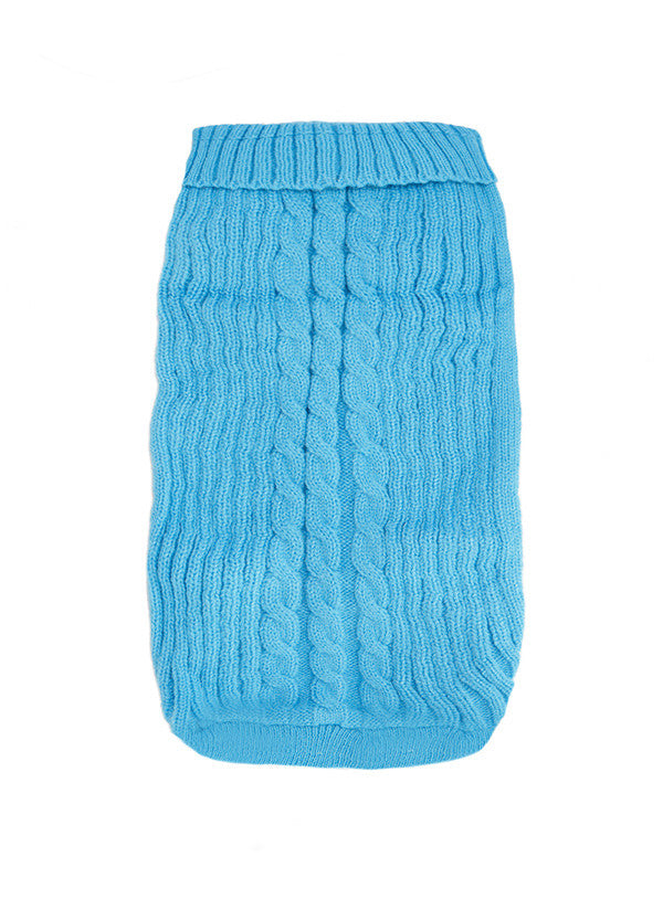 Urban Pup Blue Cable Knit Small Dog Jumper - PurrfectlyYappy