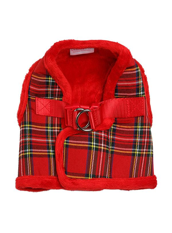 Urban Pup Luxury Fur Lined Red Tartan Dog Harness
