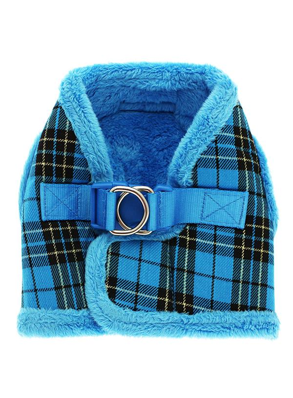 Urban Pup Luxury Fur Lined Blue Tartan Dog Harness