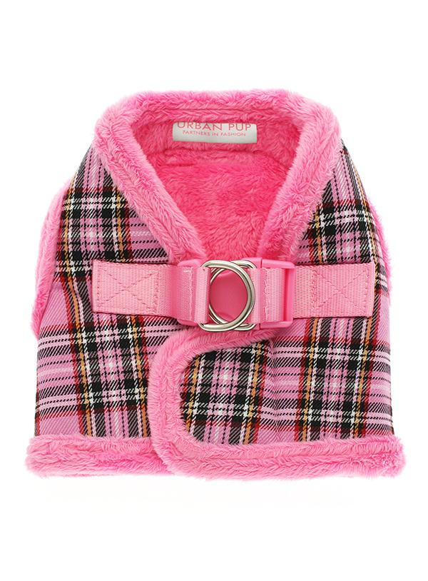 Urban Pup Luxury Fur Lined Pink Tartan Dog Harness