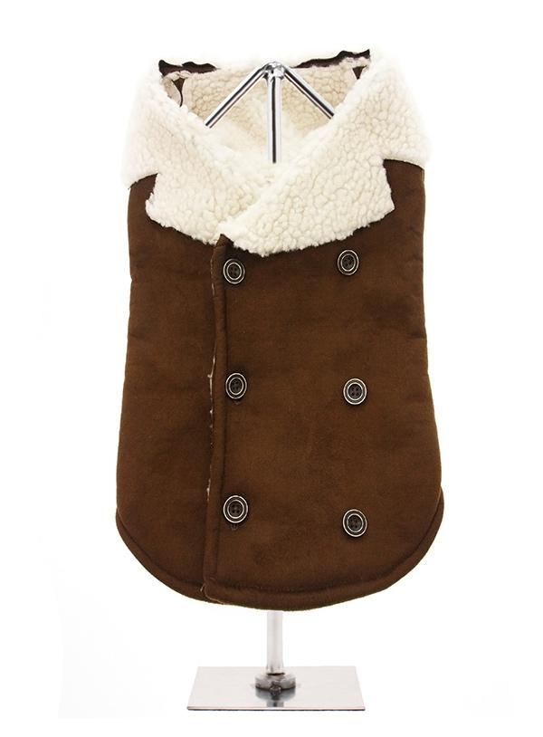 Brown & Cream Faux Shearling Aviator Jacket