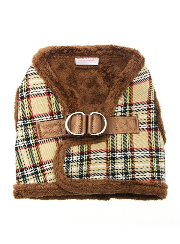 Urban Pup Luxury Fur Lined Brown Tartan Dog Harness