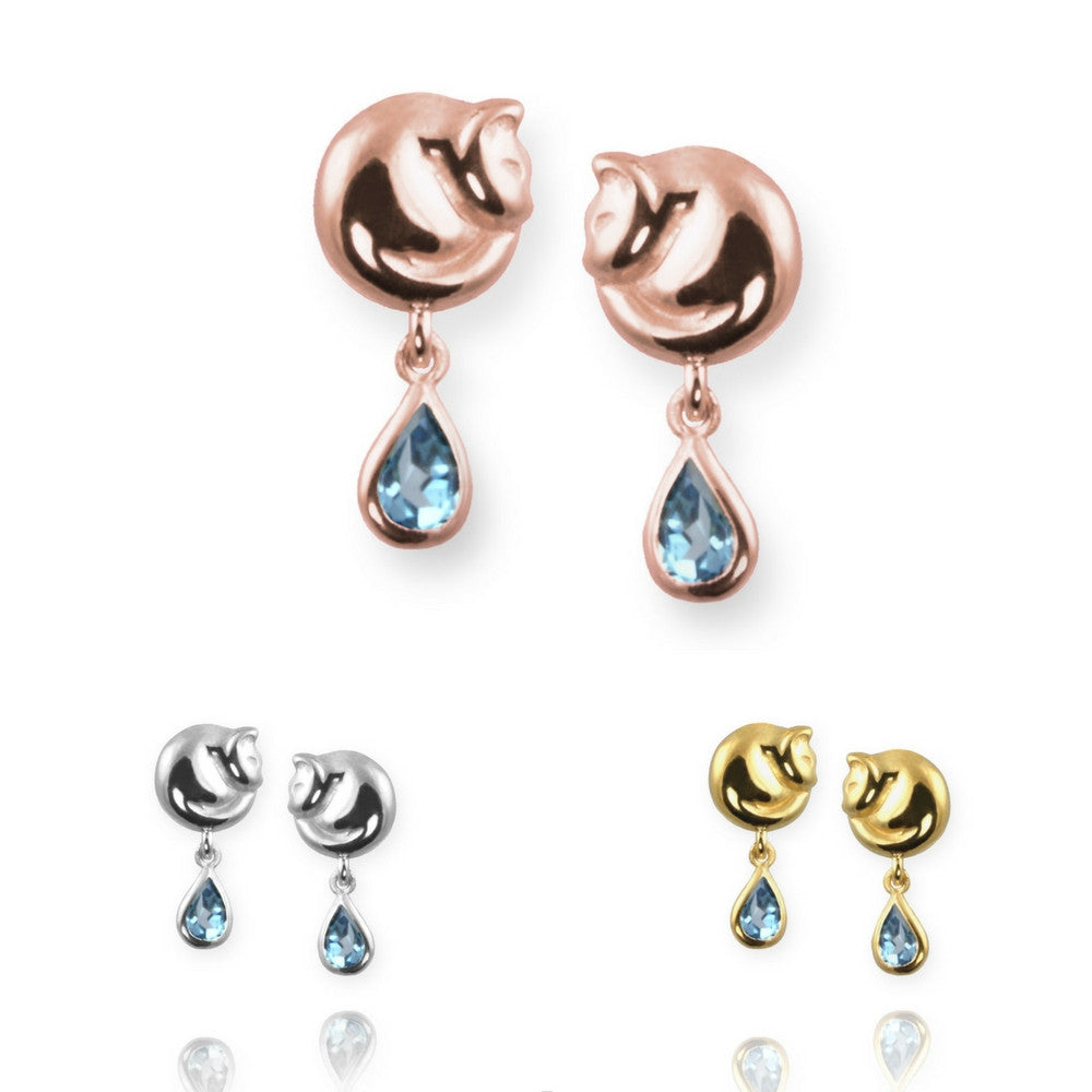 Jana Reinhardt Cat Stud Earrings with Blue Topaz - PurrfectlyYappy
