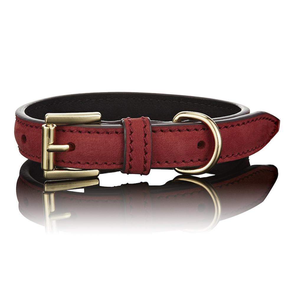 Paws with Opulence Leather Dog Collar - Luxe Red - PurrfectlyYappy