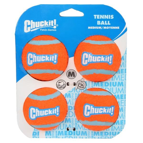 Chuckit Tennis Ball 4 Pack Medium 6.5cm