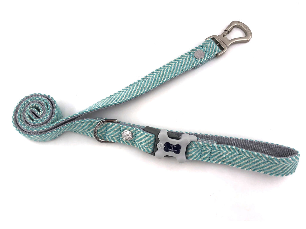 Hugo & Hudson Aqua Herringbone Dog Lead