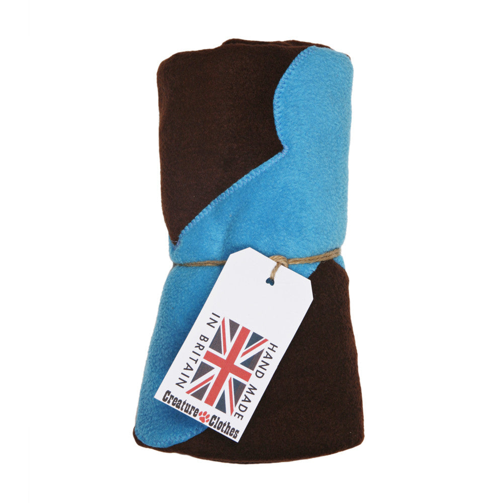 Creature Clothes Fleecy Pet Blanket in Brown and Blue - PurrfectlyYappy