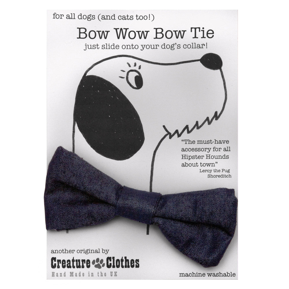 Creature Clothes Denim Dog Bow Tie - PurrfectlyYappy