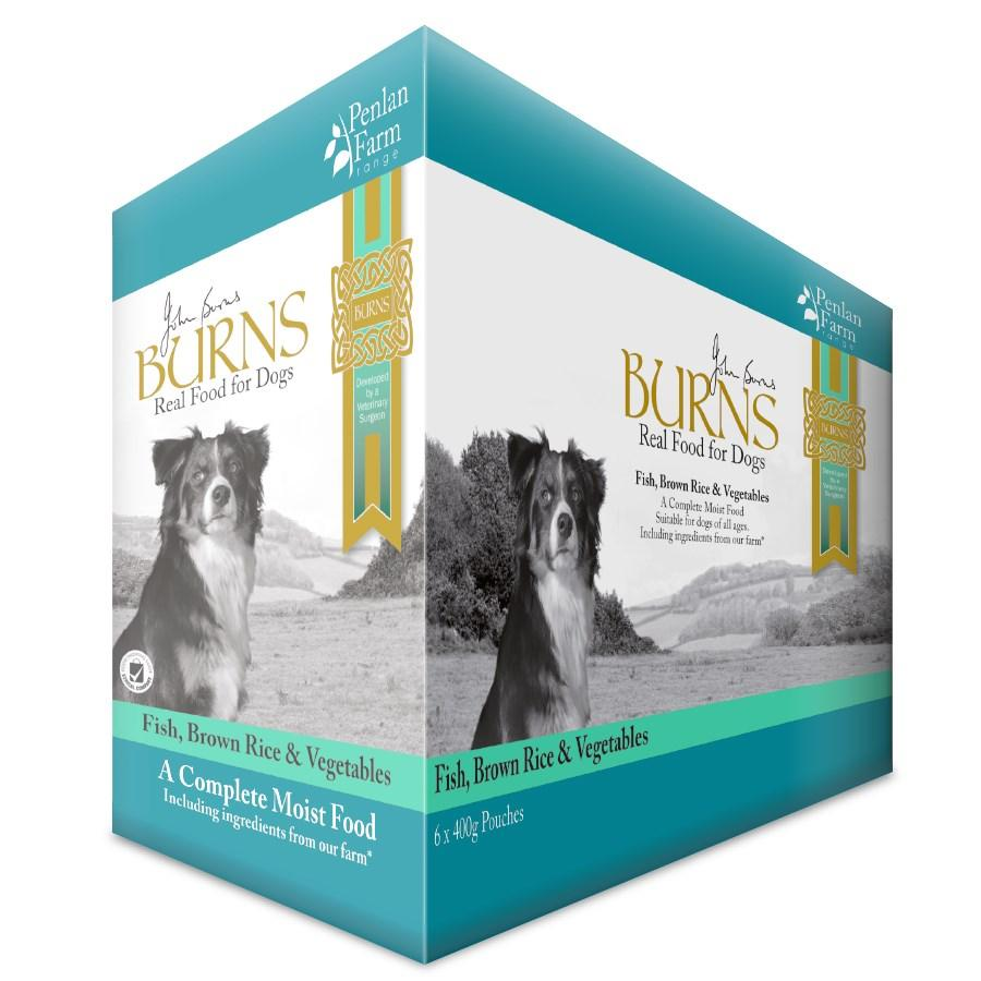Burns Penlan Farm Pouches Fish, Brown Rice & Veg Dog Food - 12 x 150g