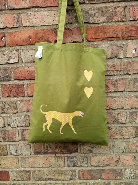 Slumbering Hound Personalised Tote Bag in Green