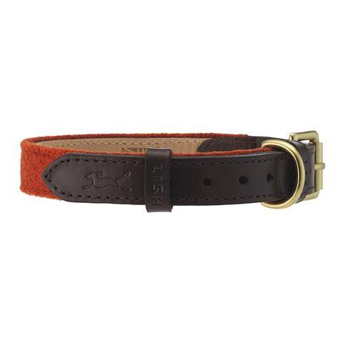 Lish London Edison Orange Harris Tweed Dog Collar