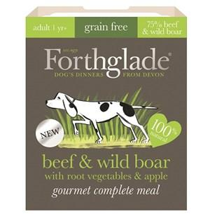 Forthglade Gourmet Grain Free Beef & Wild Boar with Root Vegetables & Apple Adult Dog Food 7x395g