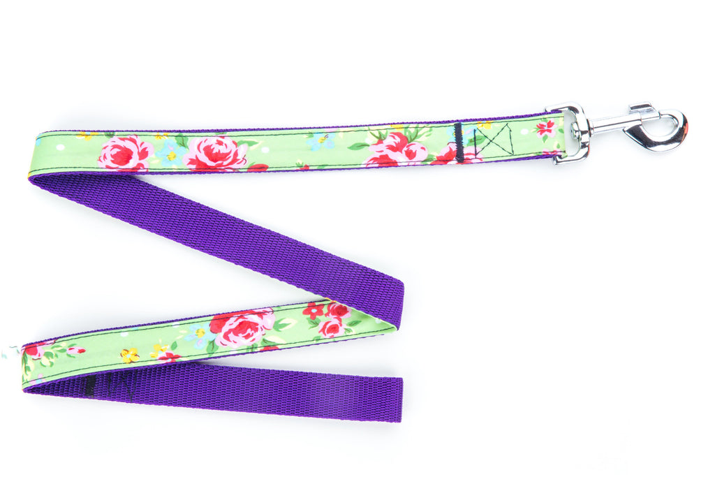 Pet Pooch Boutique Lead in Green Vintage Flower - PurrfectlyYappy