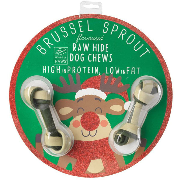 House Of Paws Rawhide Christmas Decoration - Brussell Sprout Flavour