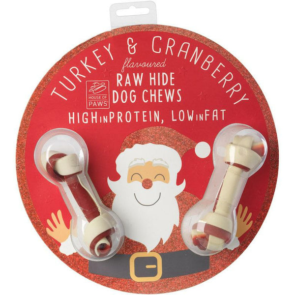 House Of Paws Rawhide Christmas Decoration - Turkey & Cranberry Flavour