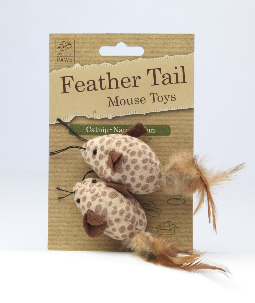 House of Paws Pack of 2 Mice with Feather Tail Cat Toy - PurrfectlyYappy