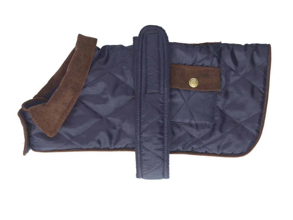 House of Paws Quilted Country Dog Coat in Navy