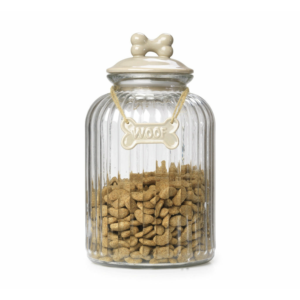 House of Paws Glass Treat Jar in Mink - PurrfectlyYappy