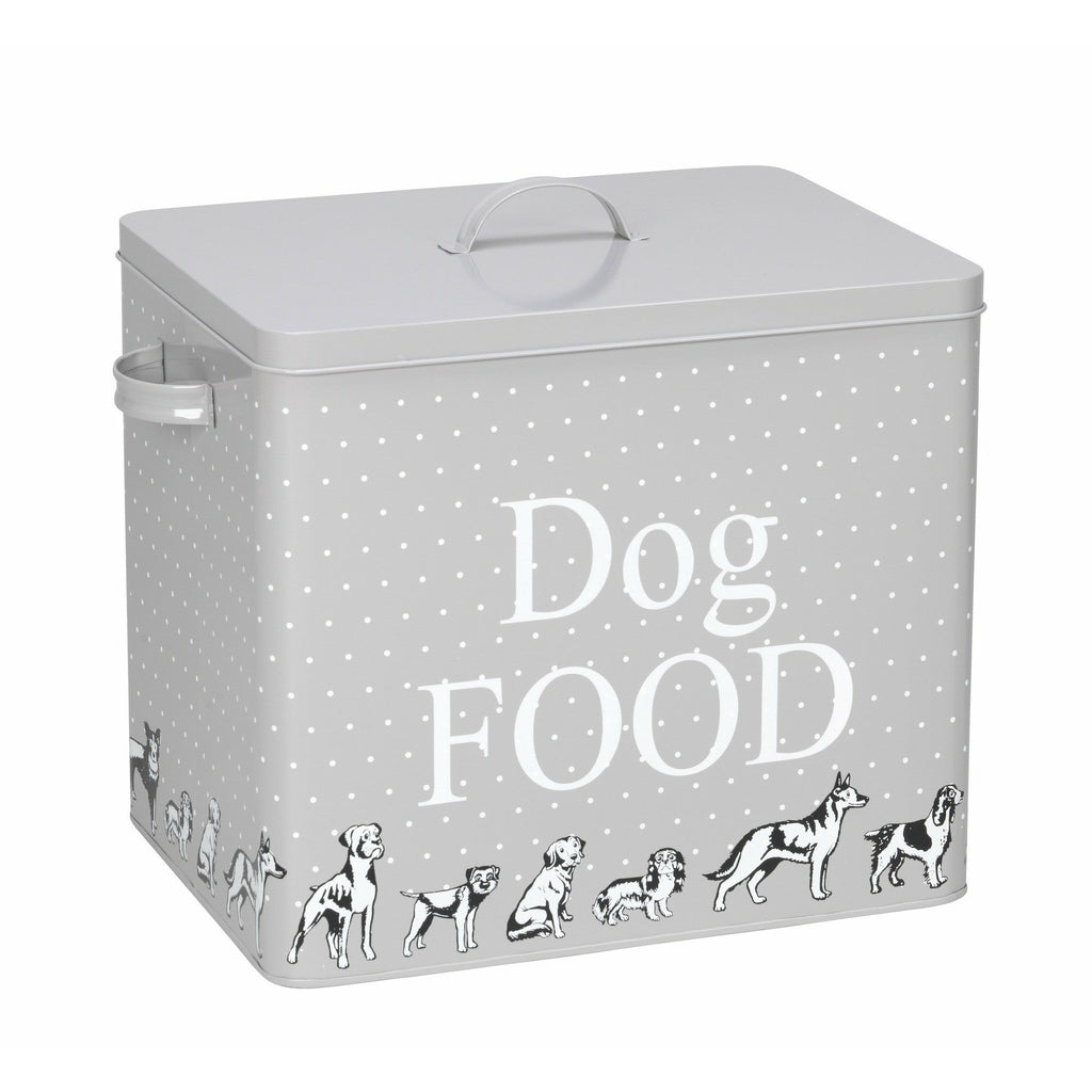 House of Paws Dog Print Treat Tin in Grey with Scoop - PurrfectlyYappy