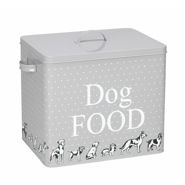 House of Paws Dog Print Treat Tin in Grey with Scoop