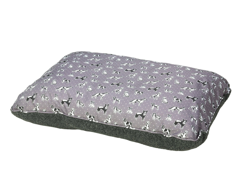 House of Paws Fleece Reversible Dog Cushion in 'Polka Dogs' - PurrfectlyYappy