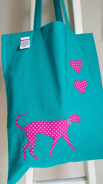 Slumbering Hound Personalised Tote Bag in Turquoise - PurrfectlyYappy