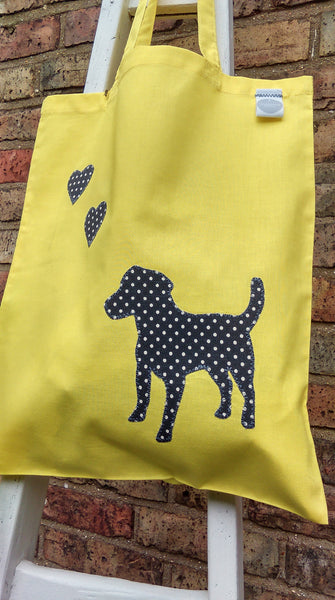Slumbering Hound Personalised Tote Bag in Yellow
