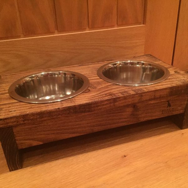 Hunt & Wilson Wooden Dog Bowl Holder with Bowls - PurrfectlyYappy