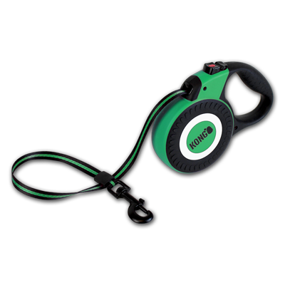 Kong Retractable Leash Reflect Dog Lead in Green/White - PurrfectlyYappy