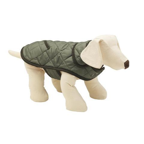 Lish London Elwin Quilted Olive Green Dog Raincoat