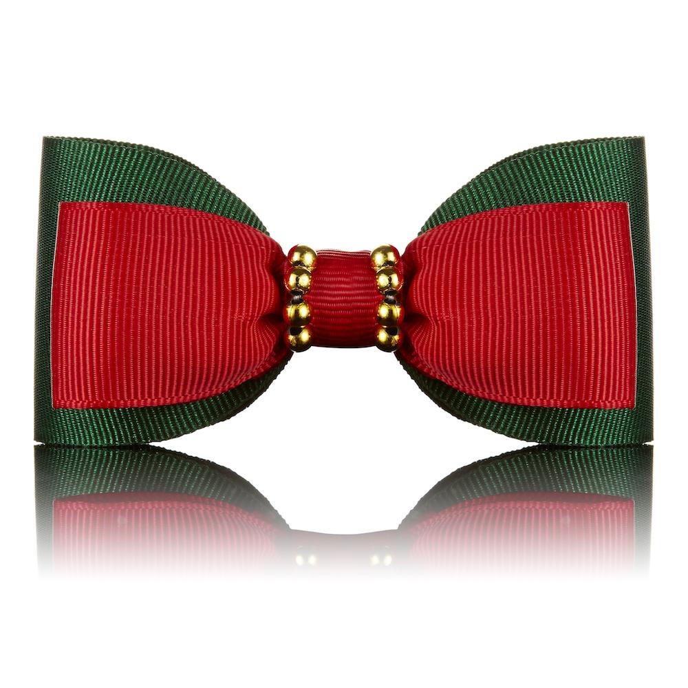 Paws with Opulence Green & Red Dog Bow Tie - PurrfectlyYappy
