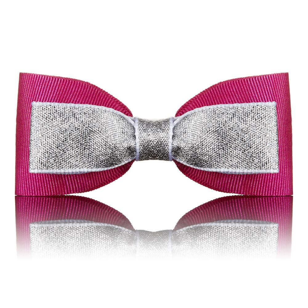 Paws with Opulence Pink & Silver Dog Bow Tie - PurrfectlyYappy