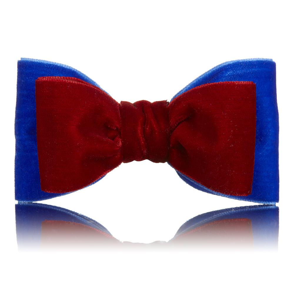 Paws with Opulence Blue & Red Velvet Bow Tie - PurrfectlyYappy