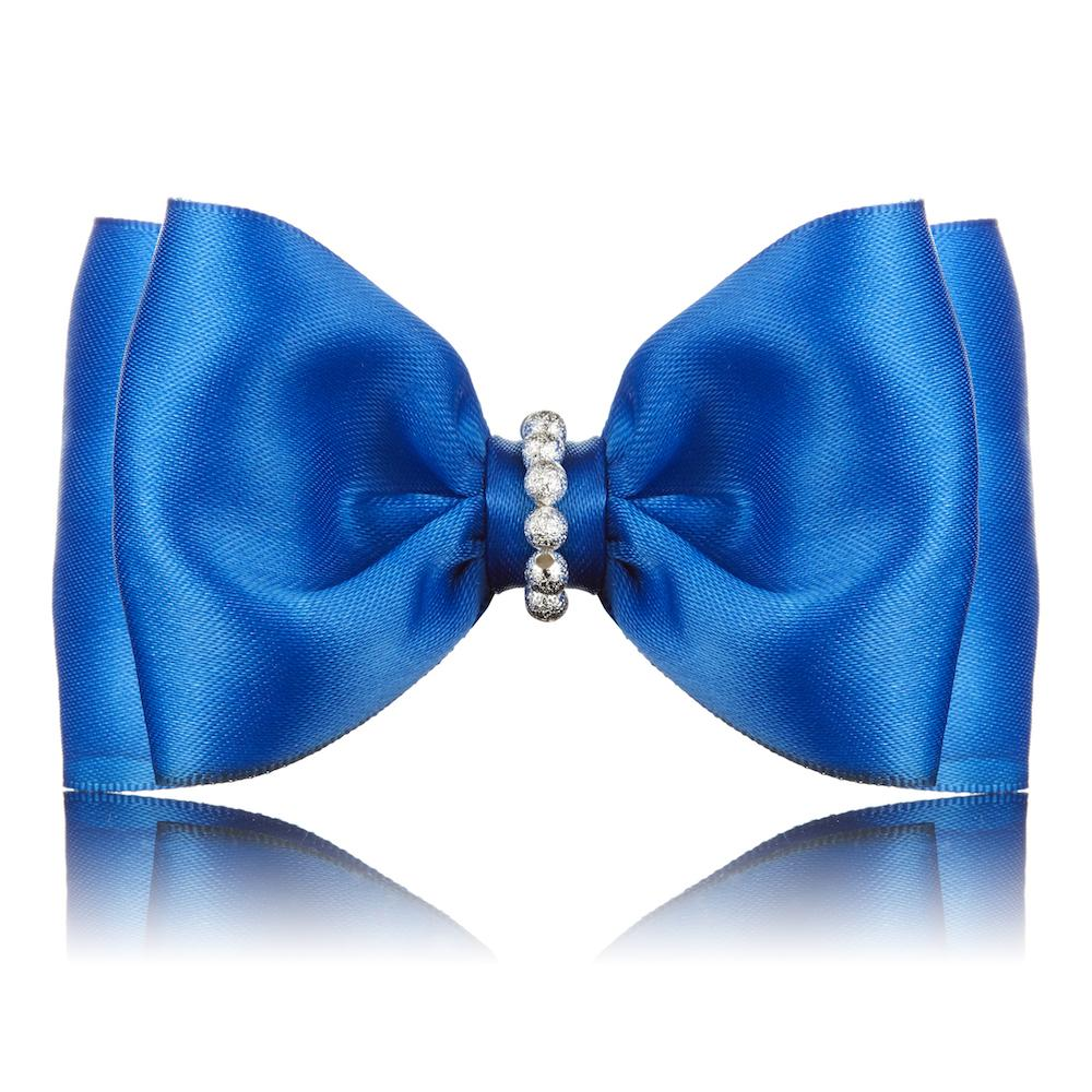 Paws with Opulence Satin Blue Dog Bow Tie - PurrfectlyYappy