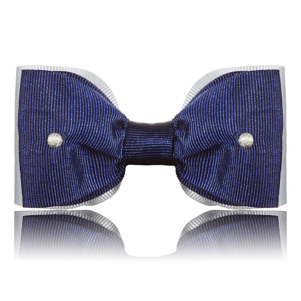 Paws with Opulence Grey & Blue Dog Bow Tie - PurrfectlyYappy
