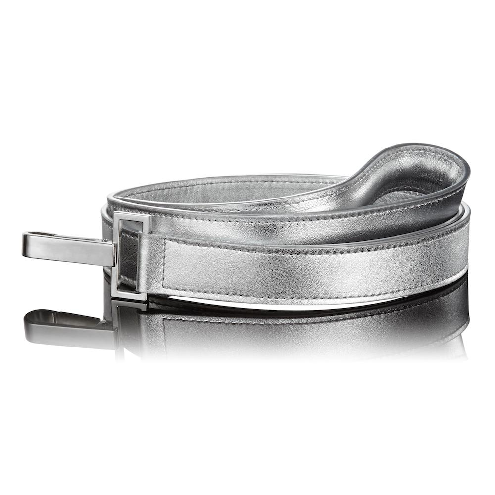 Paws with Opulence Metallic Silver Leather Dog Lead - PurrfectlyYappy