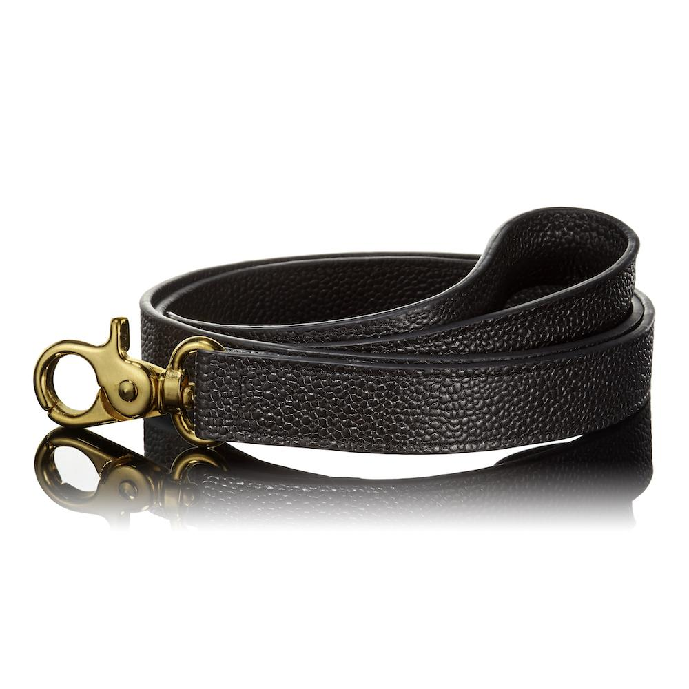 Paws with Opulence Pebbled Black Leather Dog Lead - PurrfectlyYappy