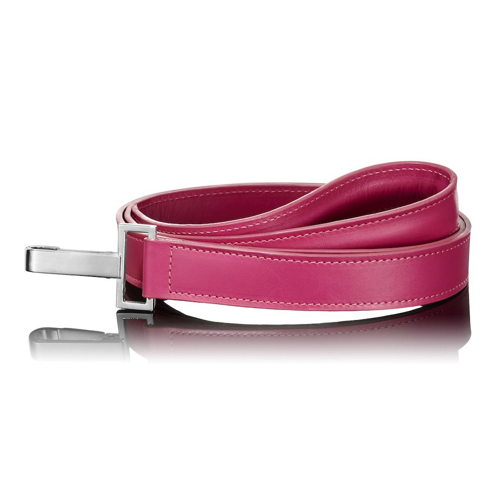 Paws with Opulence Dark Pink Leather Dog Lead - PurrfectlyYappy