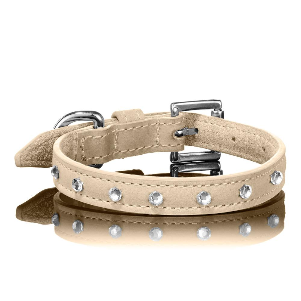 Paws With Opulence Tan Swarovski Leather Dog Collar
