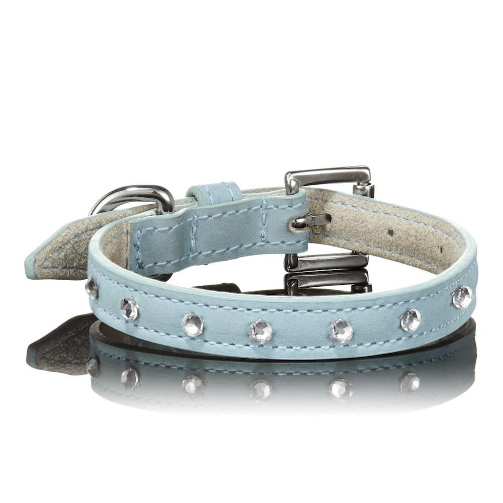 Paws With Opulence Blue Swarovski Leather Dog Collar