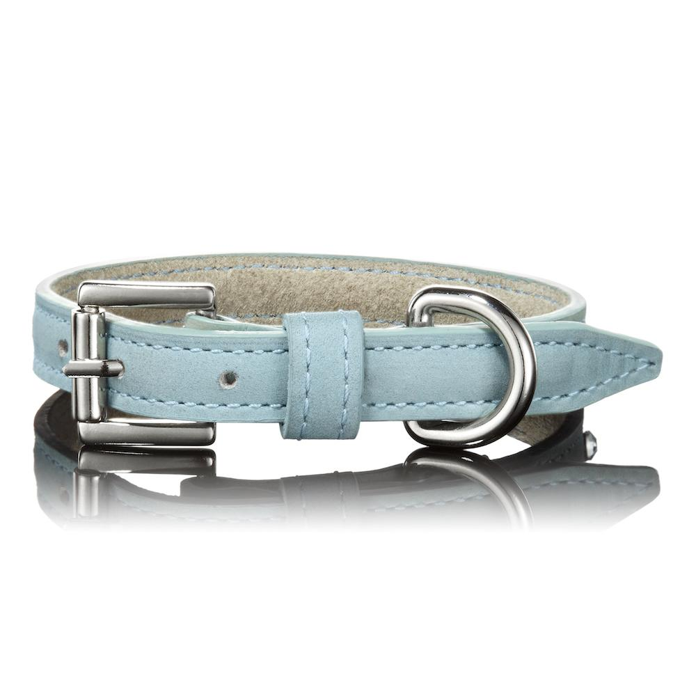 Paws with Opulence Light Blue Leather Dog Collar - PurrfectlyYappy