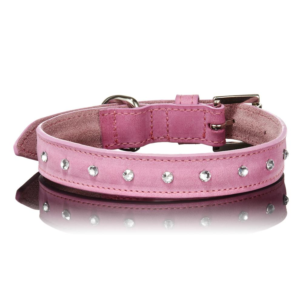 Paws with Opulence Light Pink Swarovski Leather Dog Collar - PurrfectlyYappy