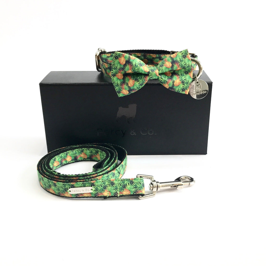 Percy & Co. Bow Tie Collar & Lead Set in The Alderley - PurrfectlyYappy