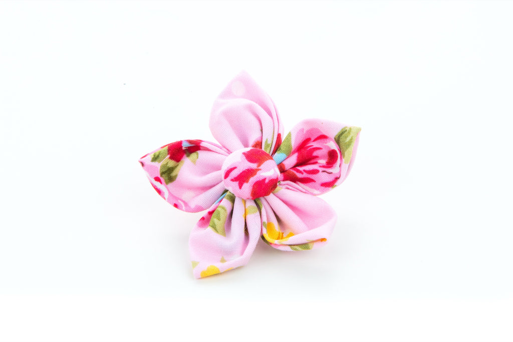 Pet Pooch Boutique Flower Collar Accessory in Pink Vintage Flower - PurrfectlyYappy