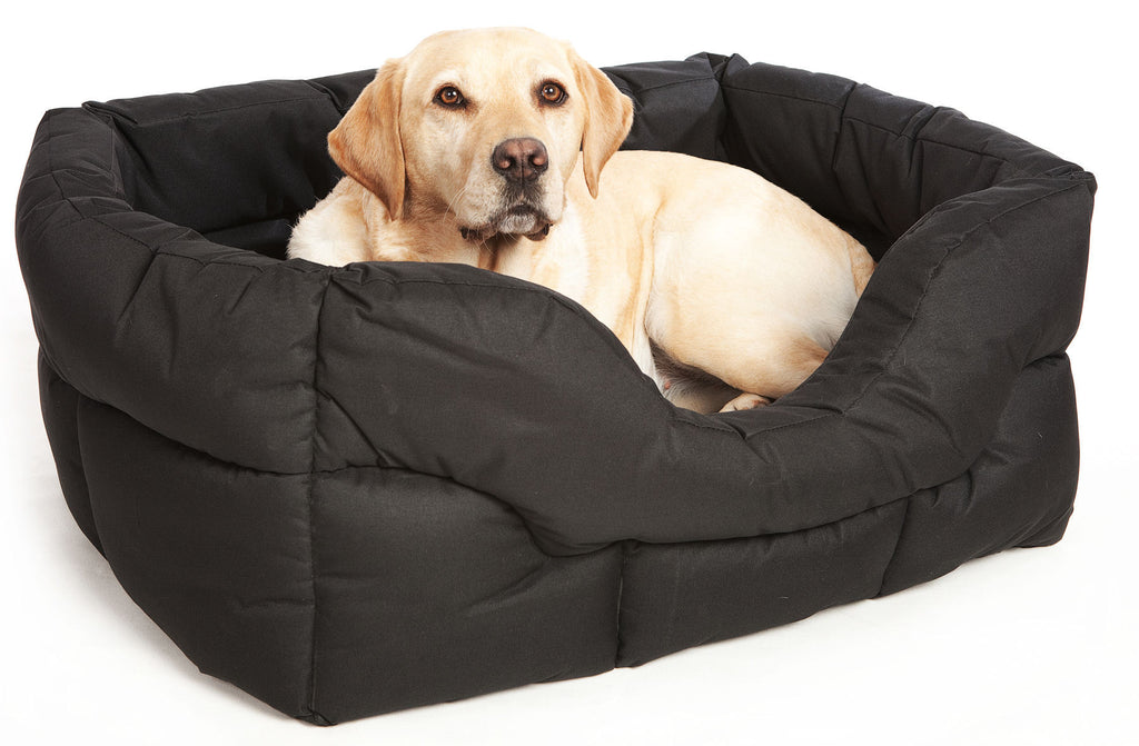 P&L Country Heavy Duty Rectangular Softee Bed in Black - PurrfectlyYappy