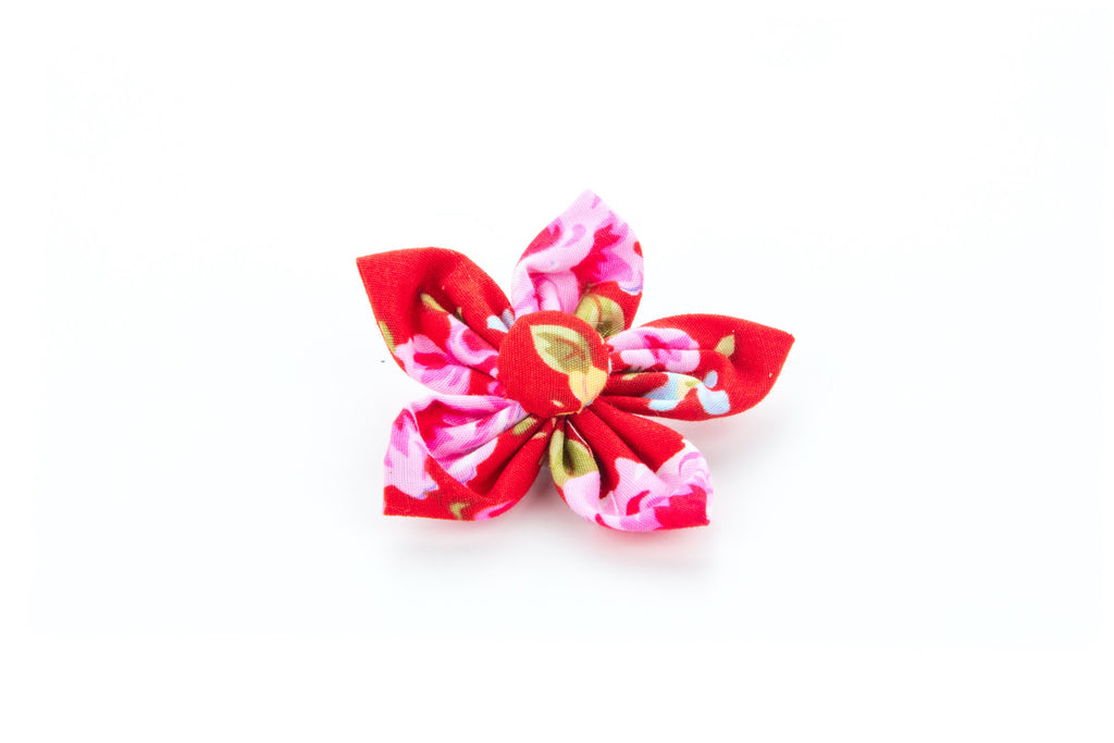 Pet Pooch Boutique Flower Collar Accessory in Red Vintage Flower - PurrfectlyYappy