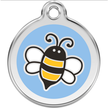 Red Dingo Enamel Pet Tag - Bumble Bee Tag in Light Blue - PurrfectlyYappy