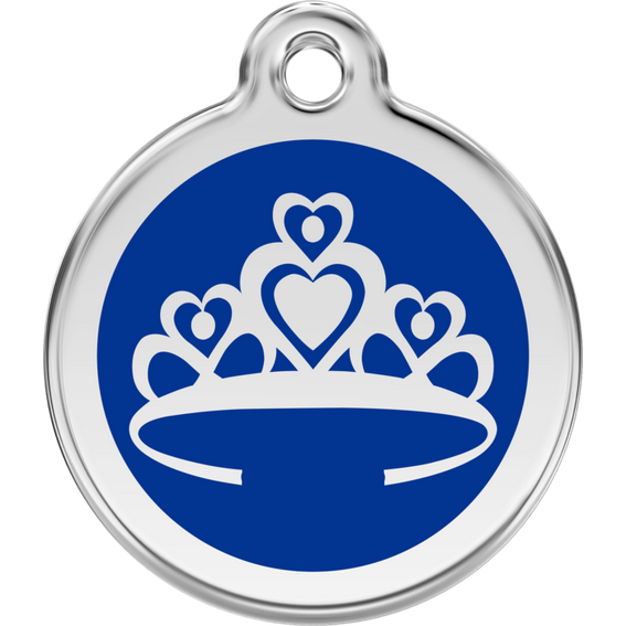 Red Dingo Enamel Pet Tag - Blue Crown - PurrfectlyYappy