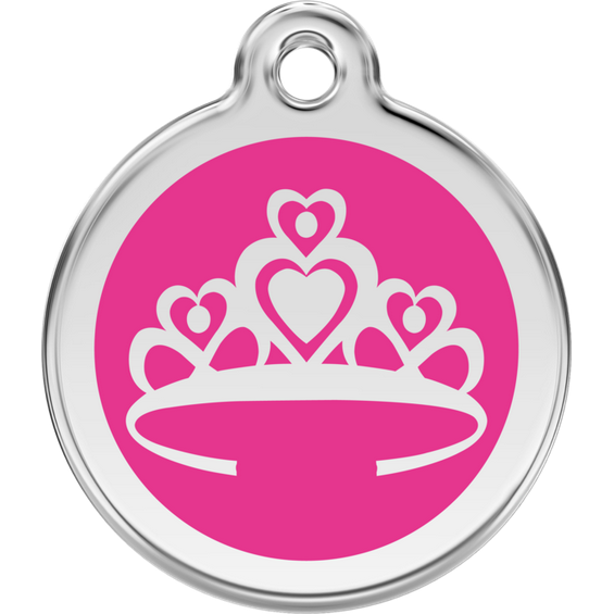 Red Dingo Enamel Pet Tag - Pink Crown - PurrfectlyYappy
