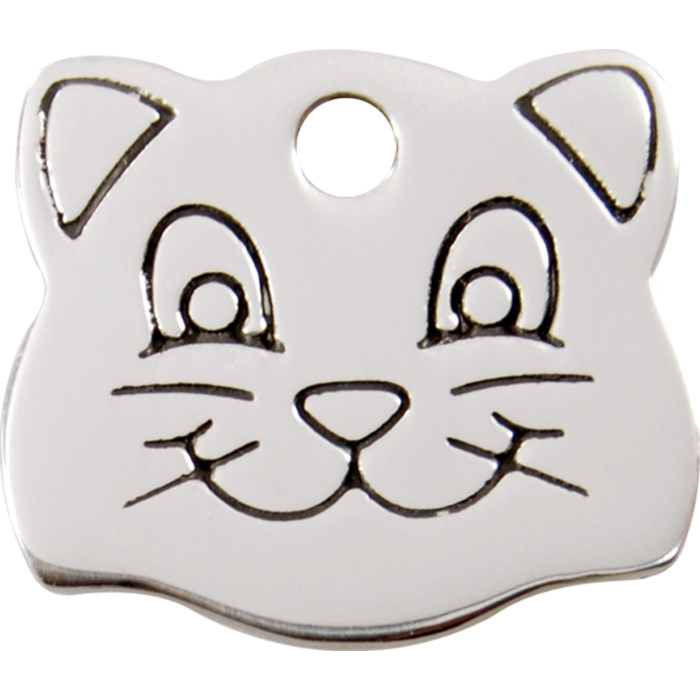 Red Dingo Enamel Pet Tag - Stainless Steel Cat Face - PurrfectlyYappy